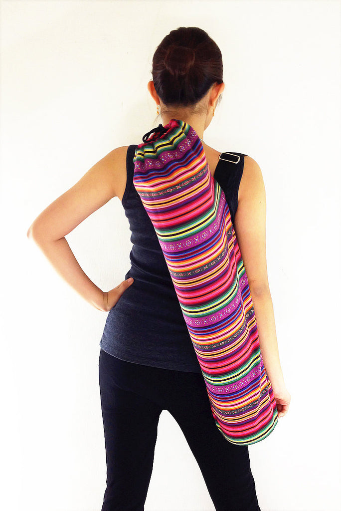 Handmade Yoga Mat Bag Yoga Bag Sports Bags Tote Yoga Sling bag Pilates Bag Pilates Mat Bag Woven Cotton bag (FF9)