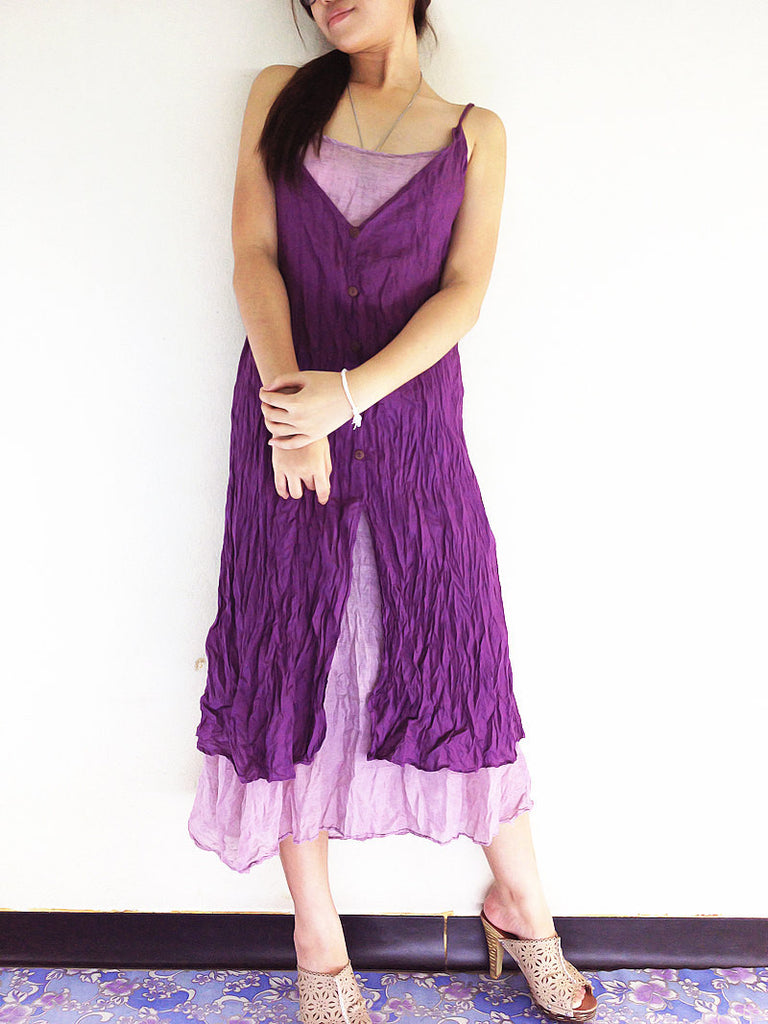 Thai Women Clothing Natural Cotton Maxi Dress Luxury Tie Dye Spaghetti Straps Amethyst (SS3)