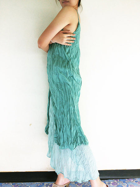 Natural Cotton Maxi Dress Luxury Tie Dye Spaghetti Straps Emerald (SS5), NaughtyGirl, HaremPantsThai