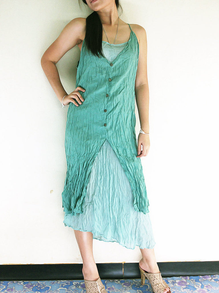 Thai Women Clothing Natural Cotton Maxi Dress Luxury Tie Dye Spaghetti Straps Emerald (SS5)