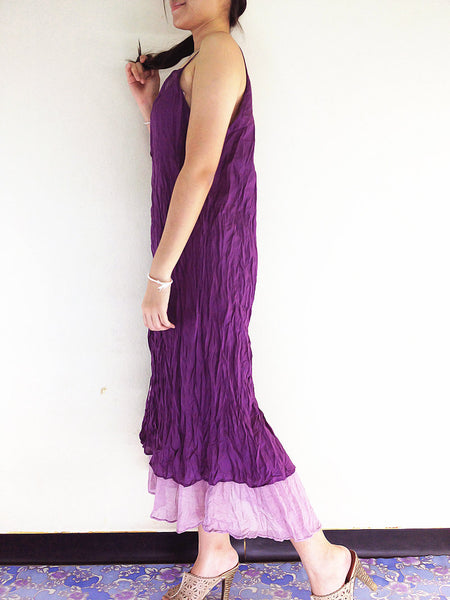 Natural Cotton Maxi Dress Luxury Tie Dye Spaghetti Straps Amethyst (SS3), NaughtyGirl, HaremPantsThai