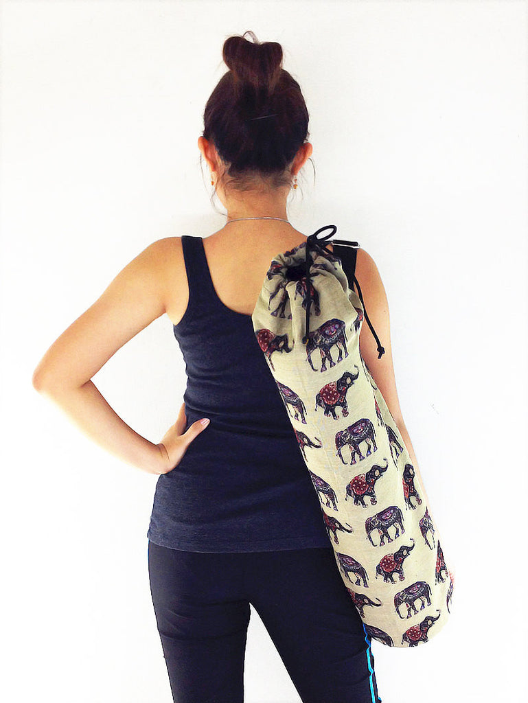 Handmade Yoga Mat Bag Yoga Bag Sports Bags Tote Sling bag Pilates Bag Pilates Mat Bag Woven Yoga Bag Woven Cotton bag Elephant bag (WF53)
