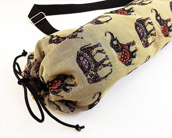 Thai Handmade Woven Yoga Mat Bag Sports Bags Pilates Mat Bag Elephant (WF53), VeradaShop, HaremPantsThai