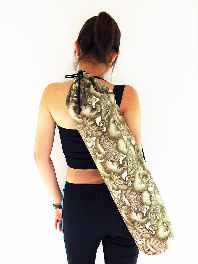 Handmade Yoga Mat Bag Yoga Bag Sports Bags Sling bag Pilates Bag Pilates Mat Bag Linen Cotton Yoga Bag Women bag Woven bag Elephant bag