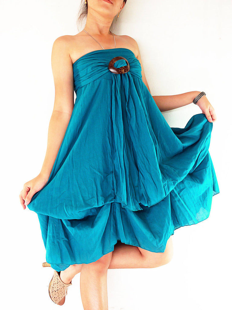 Thai Women Clothing Natural Cotton Convertible Dresses Skirts Luxury Blue Teal (DSS21)