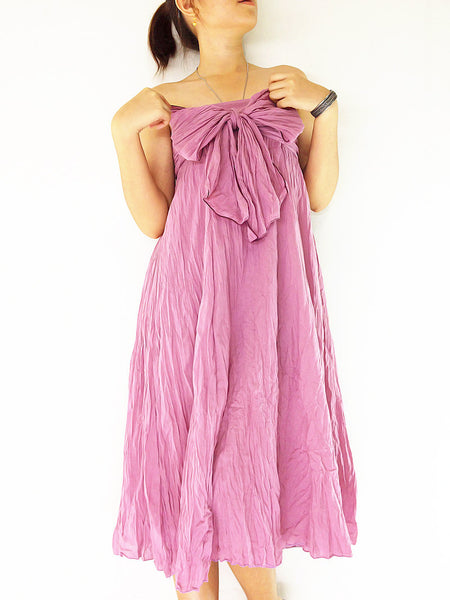 Thai Women Clothing Natural Cotton Convertible Dresses Skirts Luxury  Pink (DSS23)