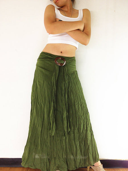 Thai Women Clothing Natural Cotton Convertible Dresses Skirts Luxury Olive (DSS15)
