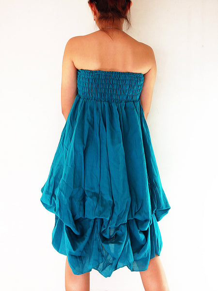 Natural Cotton Convertible Dresses Skirts Luxury Blue Teal (DSS21), NaughtyGirl, HaremPantsThai