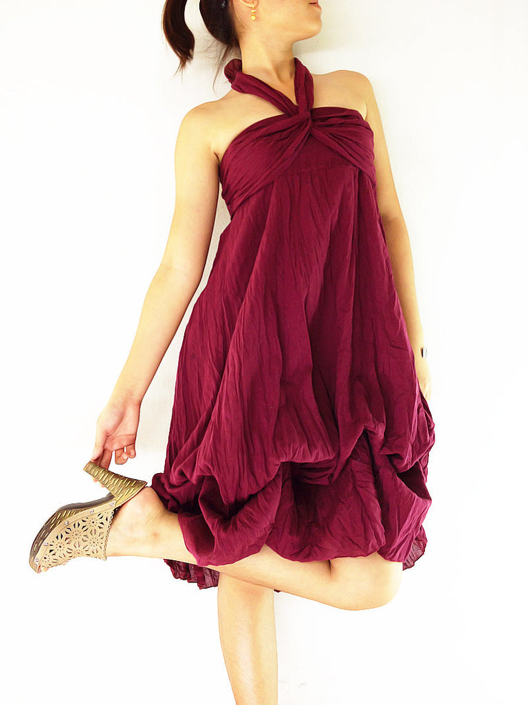 Thai Women Clothing Natural Cotton Convertible Dresses Skirts Luxury Maroon (DSS2)