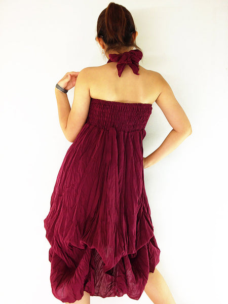 Natural Cotton Convertible Dresses Skirts Luxury Maroon (DSS2), NaughtyGirl, HaremPantsThai