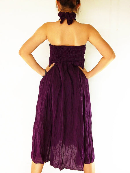 Natural Cotton Convertible Dresses Skirts Luxury Amethyst (DSS19), NaughtyGirl, HaremPantsThai