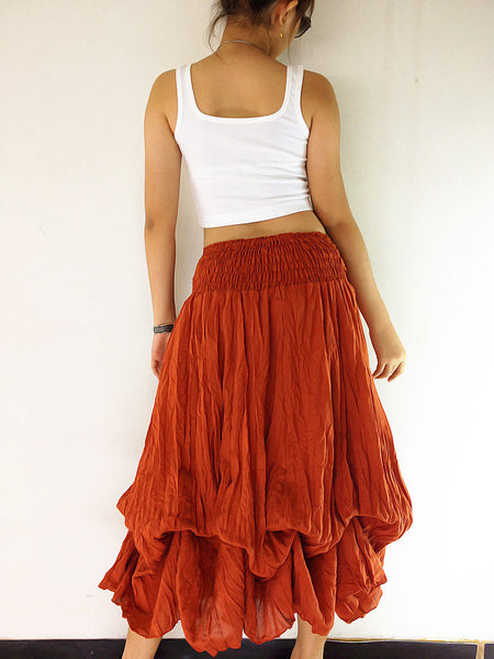 Natural Cotton Convertible Dresses Skirts Luxury Burnt Orange (DSS47), NaughtyGirl, HaremPantsThai