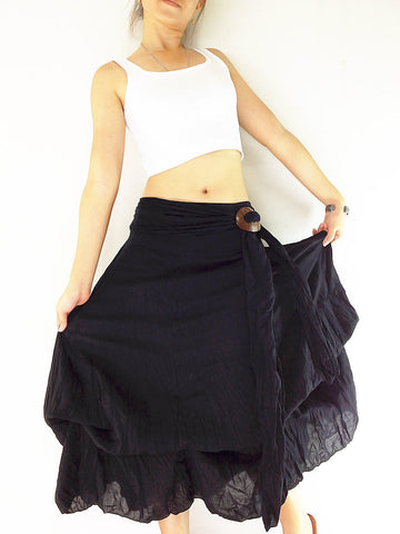 Thai Women Clothing Natural Cotton Convertible Dresses Skirts Luxury Black (DSS1)