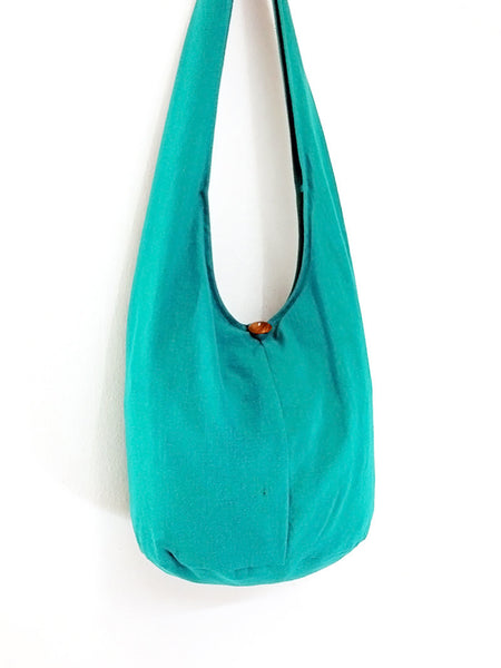Handbags Bleached Cotton bag Hippie bag Hobo Boho bag Shoulder bag Sling bag Tote bag Crossbody bag Green Teal, VeradaShop, HaremPantsThai