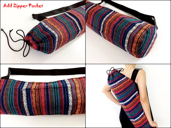 Thai Handmade Woven Yoga Mat Bag Sports Bags Pilates Mat Bag Red (WF2), VeradaShop, HaremPantsThai