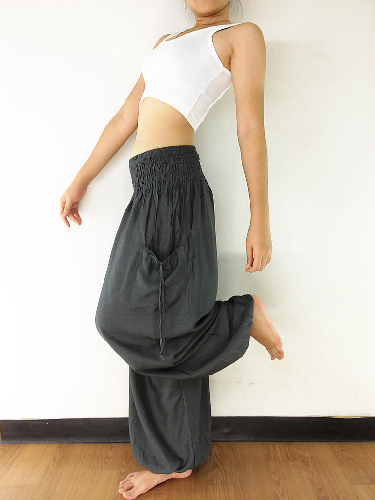 Handmade Harem Trousers Rayon Bohemian Trousers Hippie Boho Pants Gray (TC45)