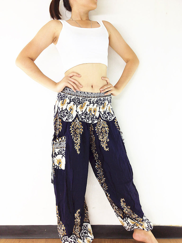 Handmade Harem Trousers Rayon Bohemian Trousers Hippie Boho Pants Flower Navy Blue (TS109)