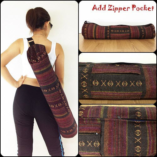 Thai Handmade Woven Yoga Mat Bag Sports Bags Pilates Mat Bag (L-WF41), VeradaShop, HaremPantsThai