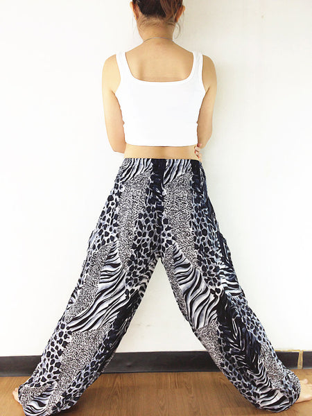 Handmade Harem Trousers Rayon Bohemian Trousers Hippie Boho Pants Tiger Black White (TS131)
