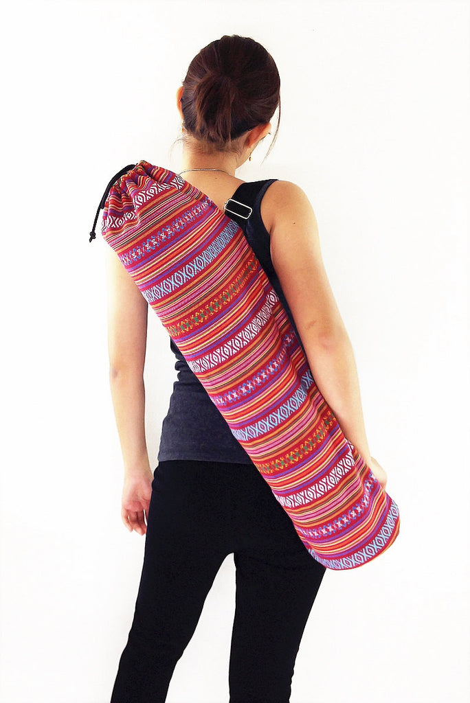 Handmade Yoga Mat Bag Yoga Bag Sports Bags Tote Yoga Sling bag Pilates Bag Pilates Mat Bag Woven Cotton bag (FF7)