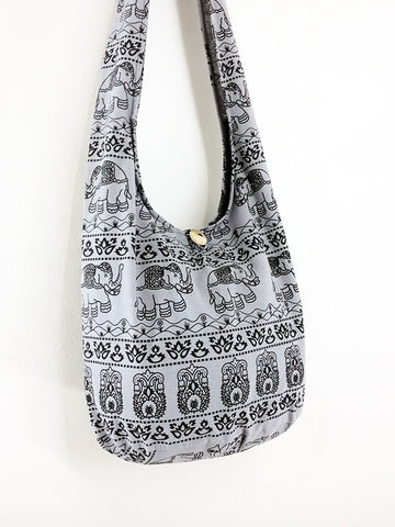Cotton Handbags Elephant bag Hippie Hobo bag Boho bag Shoulder bag Sling bag Tote bag Crossbody Gray, VeradaShop, HaremPantsThai