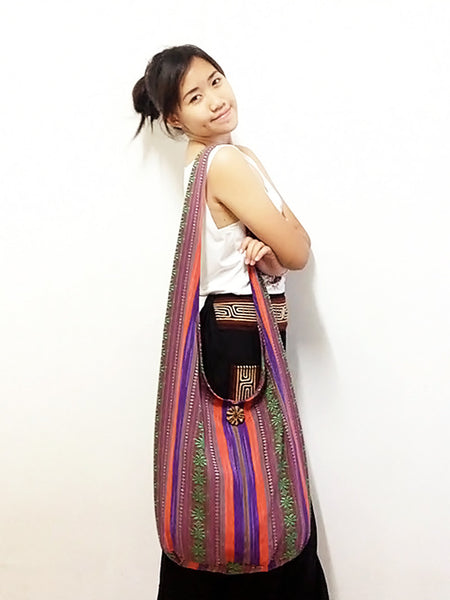 Woven Cotton bag Hobo Boho bag Shoulder Bag Sling bag Crossbody bag Long straps (FF10), VeradaShop, HaremPantsThai