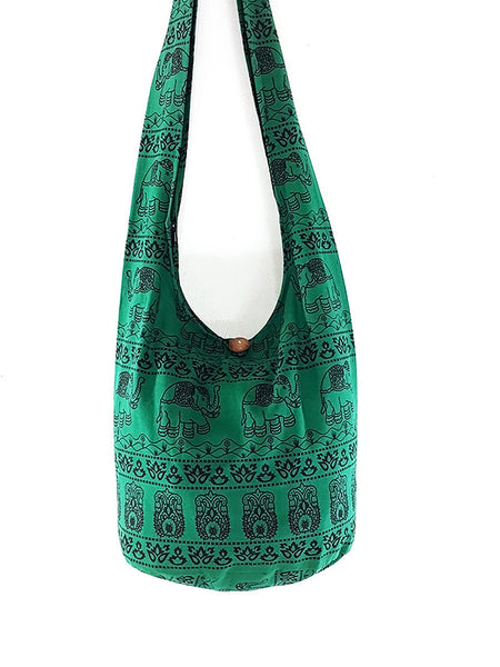 Cotton Handbags Elephant bag Hippie Hobo bag Boho bag Shoulder bag Sling bag Tote bag Crossbody Green, VeradaShop, HaremPantsThai