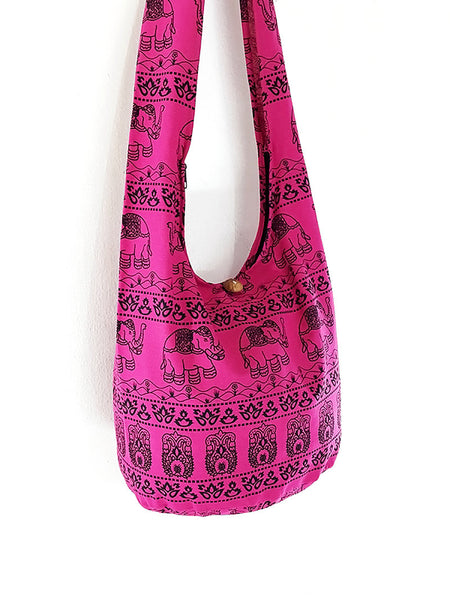 Cotton Handbags Elephant bag Hippie Hobo bag Boho bag Shoulder bag Sling bag Tote bag Crossbody Hot Pink, VeradaShop, HaremPantsThai