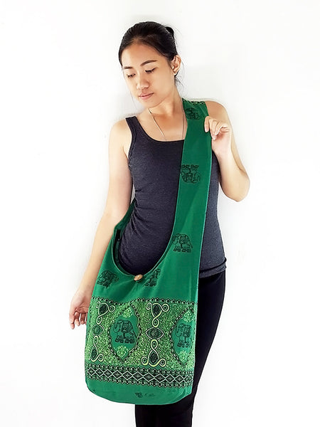 Cotton Handbags Elephant bag Hippie Hobo Boho bag Shoulder bag Sling bag Tote bag Crossbody Grass Green, VeradaShop, HaremPantsThai