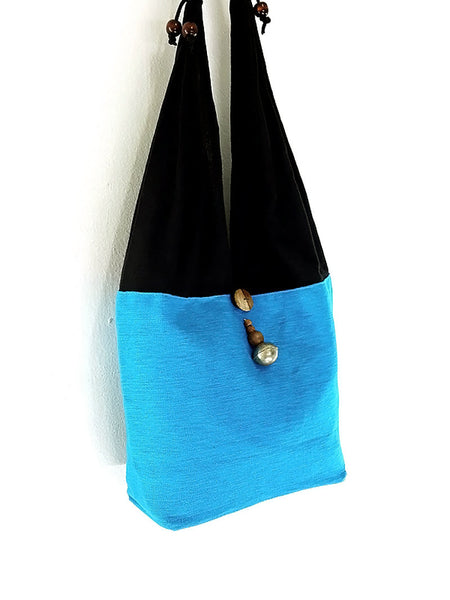 Cotton Handbags Hemp bag Hippie bag Hobo bag Boho bag Shoulder bag Tote bag Turquoise blue, VeradaShop, HaremPantsThai