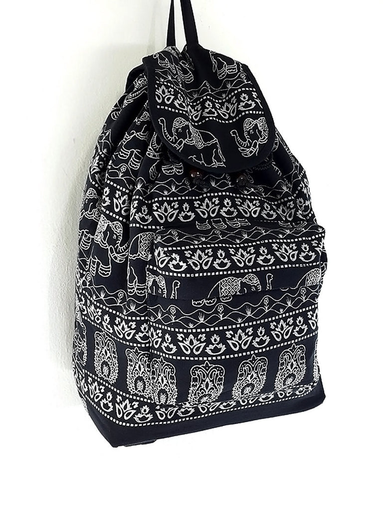 Women bag Elephant Cotton Bag Hippie bag Hobo bag Boho bag Backpack Tote bag Travel Bag Purse School bag Black