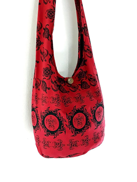Cotton Handbags Turtle bag Hippie bag Hobo bag Boho bag Shoulder bag Sling bag Tote bag Crossbody bag Red, VeradaShop, HaremPantsThai