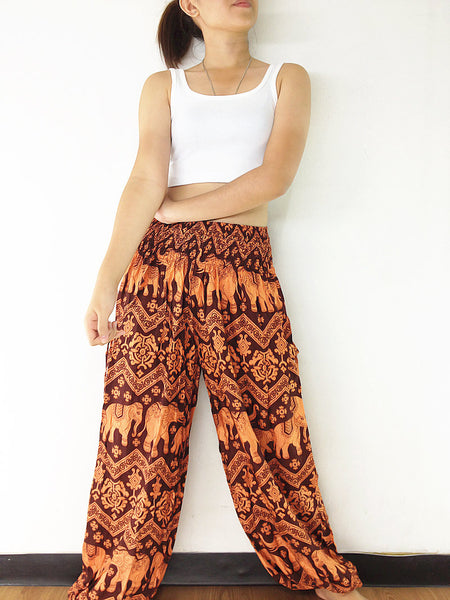 Handmade Harem Trousers Rayon Bohemian Trousers Hippie Boho Pants Elephant Orange Brown (TS134), NaughtyGirl, HaremPantsThai