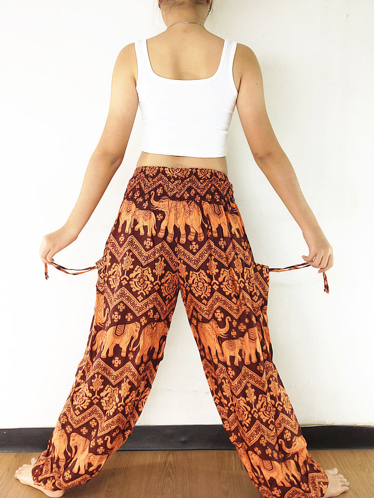 Handmade Harem Trousers Rayon Bohemian Trousers Hippie Boho Pants Elephant Orange Brown (TS134)