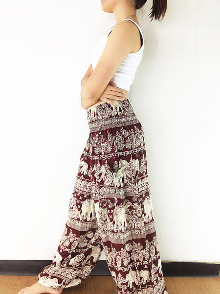 Handmade Harem Trousers Rayon Bohemian Trousers Hippie Boho Pants Elephant Red Brown (TS138)