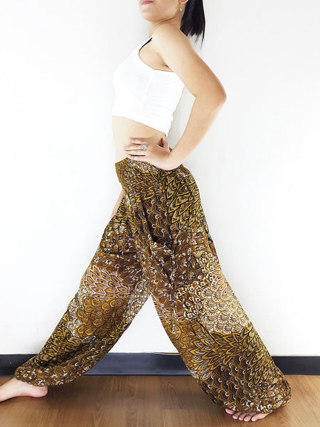 Handmade Harem Trousers Rayon Bohemian Trousers Hippie Boho Pants Leaf Gold Brown (TS140)