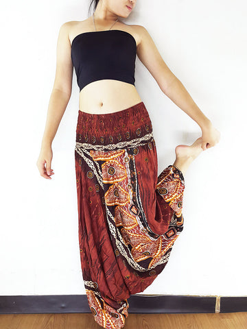 Handmade Harem Pants Jumpsuits Rayon Bohemian Hippie Boho Pants Brown (HP166)