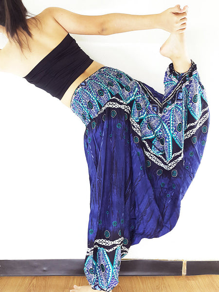 Handmade Harem Pants Yoga Pants Aladdin Pants Gypsy Rayon Jumpsuit Navy Blue (HP167)
