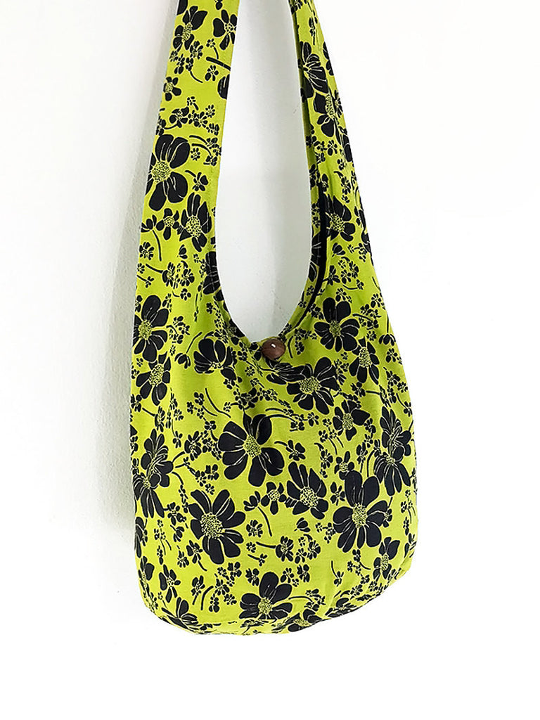 Cotton Handbags Flower Hippie bag Hobo Boho bag Shoulder bag Sling bag Tote bag Crossbody bag Green Yellow, VeradaShop, HaremPantsThai
