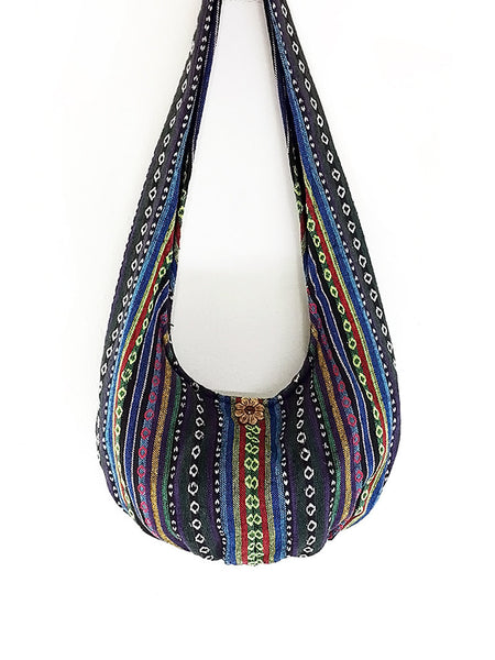 Woven Cotton bag Hobo Boho bag Shoulder Bag Sling bag Crossbody bag Gypsy Long straps, VeradaShop, HaremPantsThai