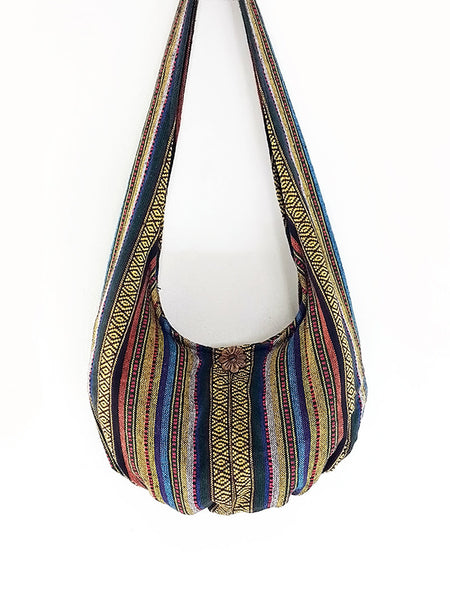 Woven Cotton Bag Hippie bag Hobo Boho bag Shoulder bag Sling bag bag Tote Crossbody bag Women bag Handbags Long Strap (WF40)