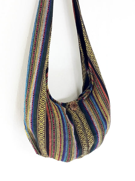Woven Cotton bag Hobo Boho bag Shoulder Bag Sling bag Crossbody bag Long straps (WF40), VeradaShop, HaremPantsThai