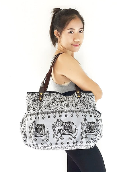 Cotton Handbags Elephant bag Hippie bag Hobo bag Boho bag Shoulder bag Tote bag Gray, VeradaShop, HaremPantsThai