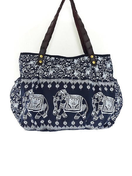 Cotton Handbags Elephant bag Hippie bag Hobo bag Boho bag Shoulder bag Tote bag Navy Blue, VeradaShop, HaremPantsThai