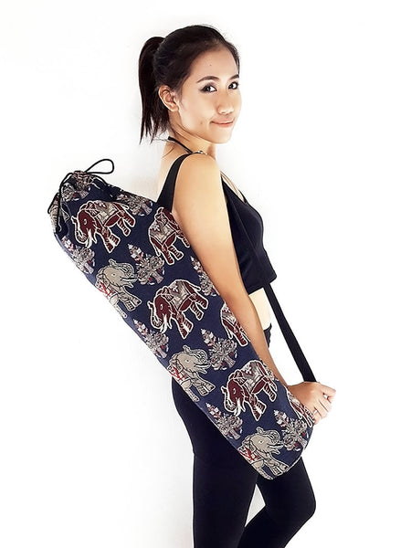 Handmade Yoga Mat Bag Yoga Bag Sports Bags Tote Sling bag Pilates Bag Pilates Mat Bag Woven Yoga Bag Woven Cotton bag Elephant bag (WF59)