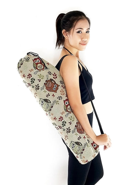 Handmade Yoga Mat Bag Yoga Bag Sports Bags Tote Yoga Sling bag Pilates Bag Pilates Mat Bag Woven Yoga Bag Woven Cotton bag Owl bag (WF60)