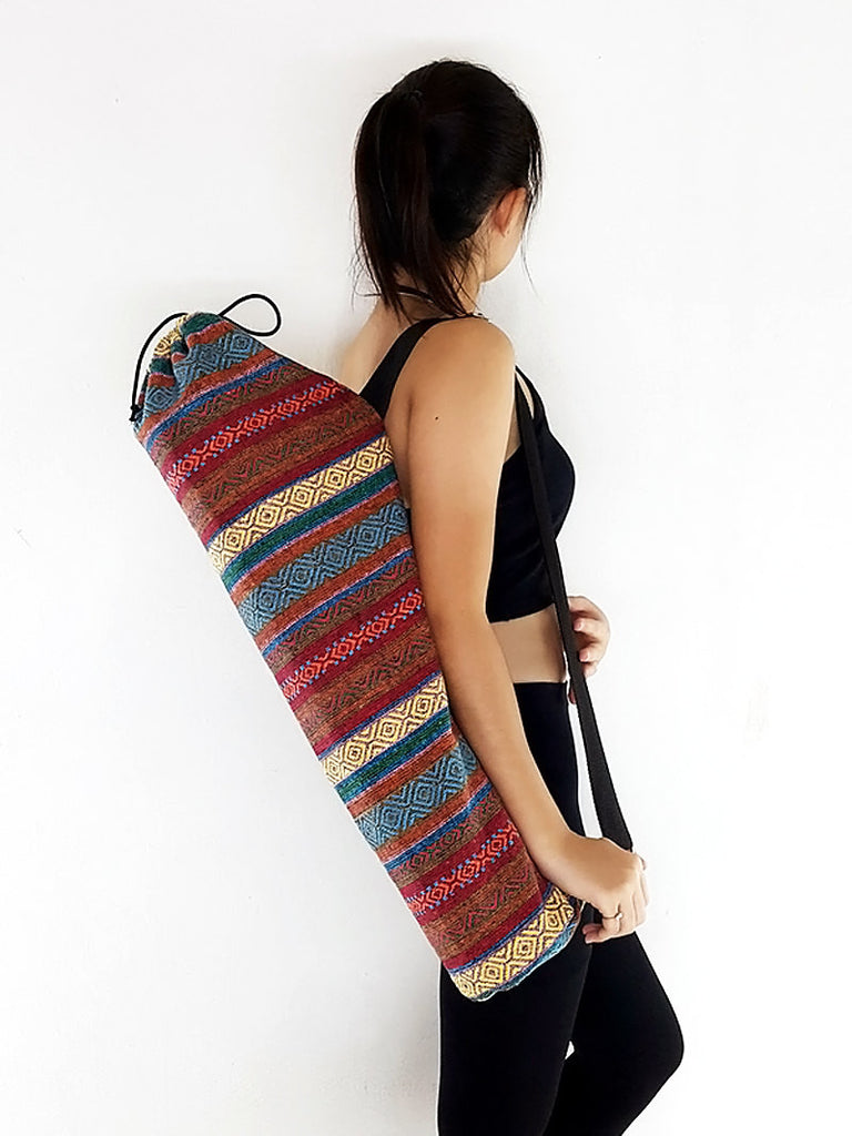 Handmade Yoga Mat Bag Yoga Bag Sports Bags Tote Yoga Sling bag Pilates Bag Pilates Mat Bag Woven Cotton bag (WF64)