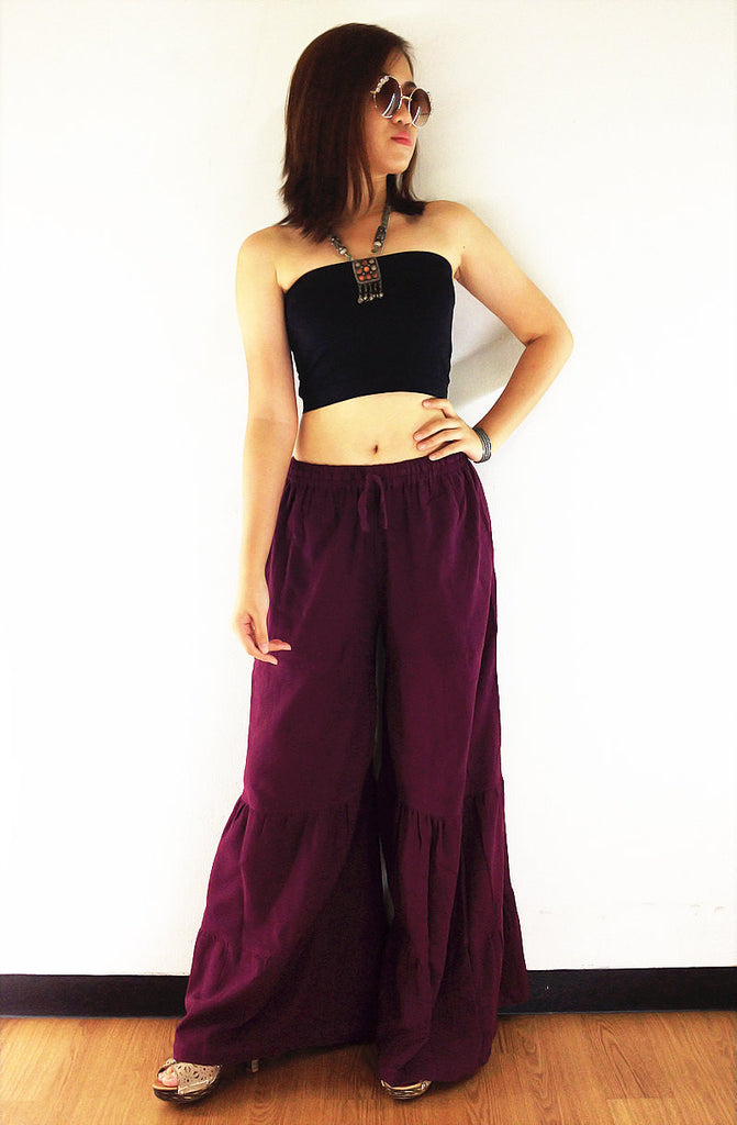 PT189 Thai Women Clothing Natural Cotton Trousers Comfy Luxury Wide Leg Maroon Brown