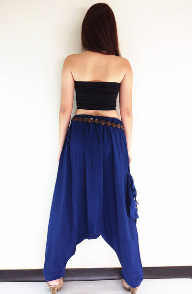 PT426 Natural Handmade Harem Pants Cotton Dark Blue, NaughtyGirl, HaremPantsThai