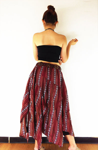 ST185 Thai Women Cotton Clothing Long Skirts Natural Luxury Red, NaughtyGirl, HaremPantsThai